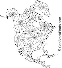 North America map of polygonal futuristic mosaic lines network, rays and dots vector illustration.