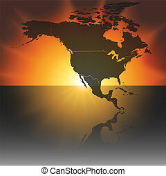 north america map on the sunset background vector.