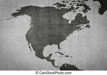 north america map on vintage background - old texture