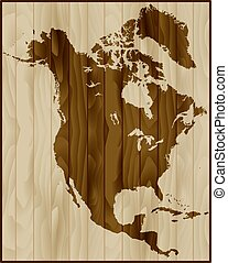 North America map on wood background - North America map on...