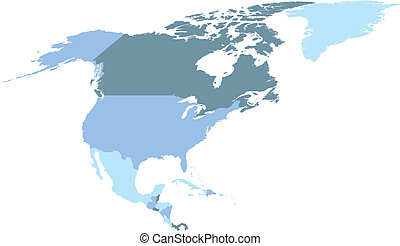 north america map - political map of north america in cold ...