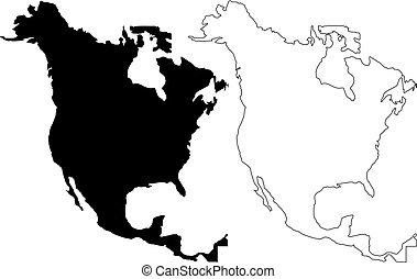 North America map vector illustration, scribble sketch North...