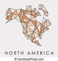 North America map vector - low-poly geometric style illustration.