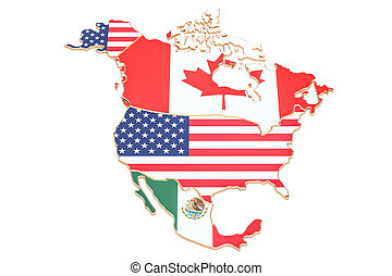 North america map with flags of the USA, Canada and Mexico. 3D rendering