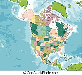 North America map with USA, Canada and Mexico - The largest ...