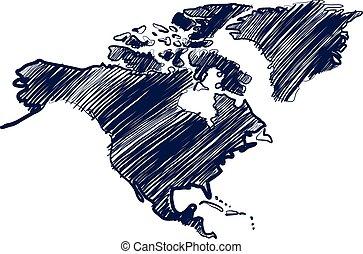 North america - north america map hand drawn background ...