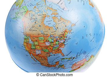 North America on World Globe