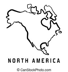 North America simple map outline - smooth simplified continent shape map vector.
