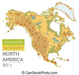 North America physical map elements. Build your own geography info graphic collection