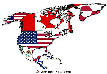 north america political map - some very old grunge map with...