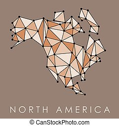 North America simple map - North America map vector - low ...