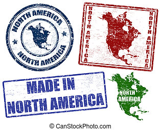North America stamps - Set of grunge rubber stamps with the...