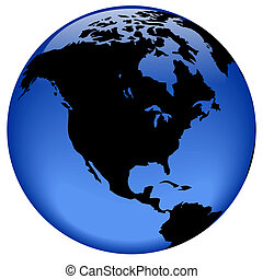 North America - Rasterized pseudo 3d globe view - North...