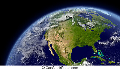 North America viewed from space with atmosphere and clouds. Elements of this image furnished by NASA.