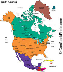 North America with Countries, Names