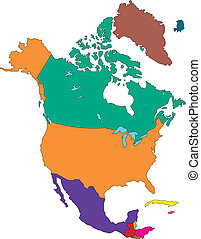 North America Regional Map with individual Countries, Editable Color. Perfect for Sales and Marketing Presentations. Countries are individual objects that can be colored and changed so you can build a regional territory map or develop an illustration. Great for building sales and marketing territory...
