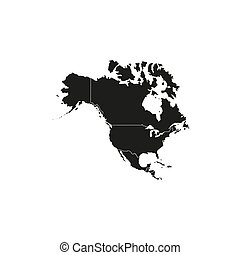 North America with country borders, vector illustration. - ...