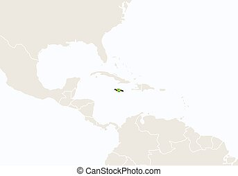 North America with highlighted Jamaica map.