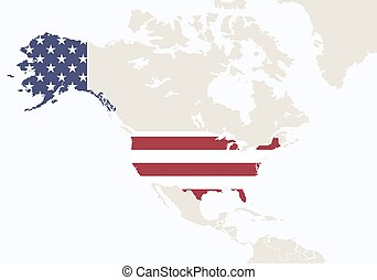 North America with highlighted USA map.
