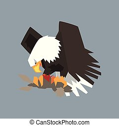 North American Bald Eagle character eating his prey, symbol of freedom and independence vector illustration