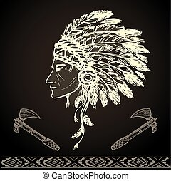 North American Indian chief with tomahawk