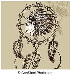 North American Indian with Dreamcatcher