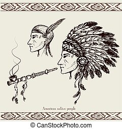 North American Indian with peace pipe