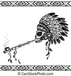 North American Indian skull with peace pipe, hand drawn vector