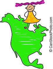 North American kid - happy little caucasian girl standing on...