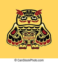 North american native art, owl
