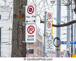 North American no parking signs in Toronto, Ontario, Canada