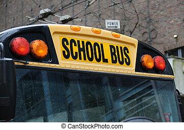 North American school bus closeup