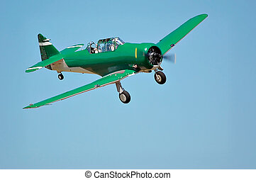 North American T-6G Texan airplane turning