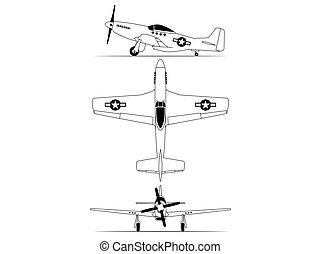 north american World war 2 fighter airplane blue print