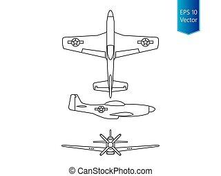 North american world war 2 fighter airplane vector