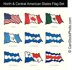 North and Central American States Waving Flag Set. The set...