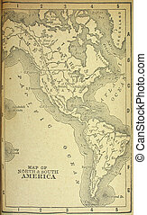 North and Sount America - Old map showing western hemisphere...