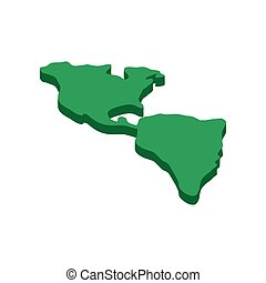 North and South America map isometric 3d icon