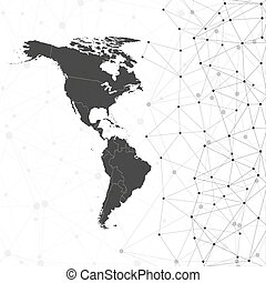 North and South America map vector, illustration for communication