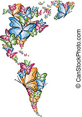 North and South America world map silhouette made of butterfly illustration