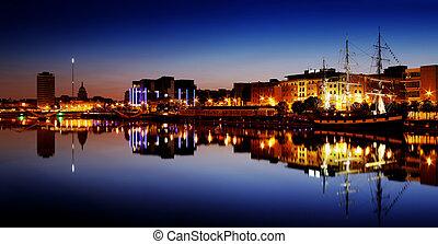 North bank of the river Liffey at Dublin City Center at...