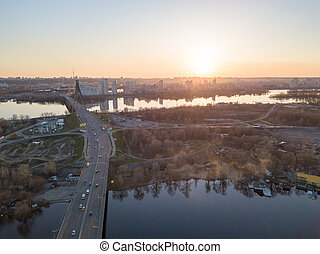 North bridge over the Dnieper River overlooking the Skaimol...