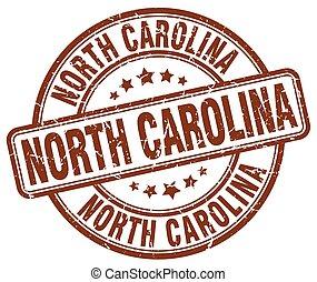North Carolina brown grunge round vintage rubber stamp