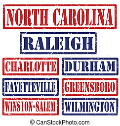 Set of North Carolina cities stamps on white background, vector illustration