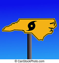 North Carolina hurricane warning sign