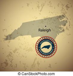 North Carolina map with stamp vintage vector background