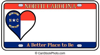 North Carolina license plate in the colors of the state flag with the flag icons over a white background