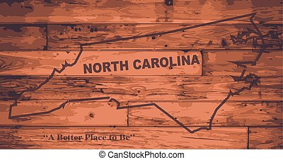 North Carolina state map brand on wooden boards with map outline and state motto