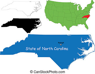 North carolina map - State of North Carolina, USA