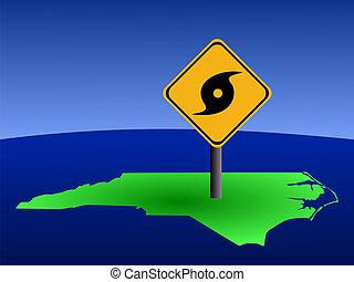 North Carolina map with hurricane sign - hurricane warning...